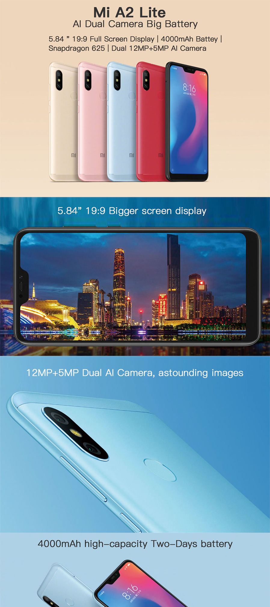 Xiaomi A2 LITE Android Phone with 4GB RAM 64GB ROM Global Version
