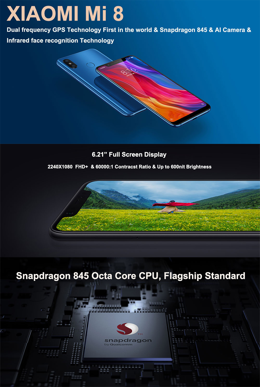 Xiaomi mi 8 Android Phone with 6GB RAM 64GB ROM - Global Version