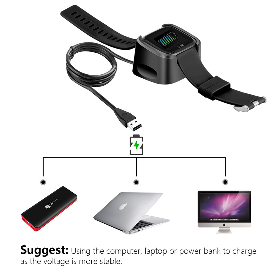 Naxtop Fitbit Versa Usb Charger Replacement Usb Charging