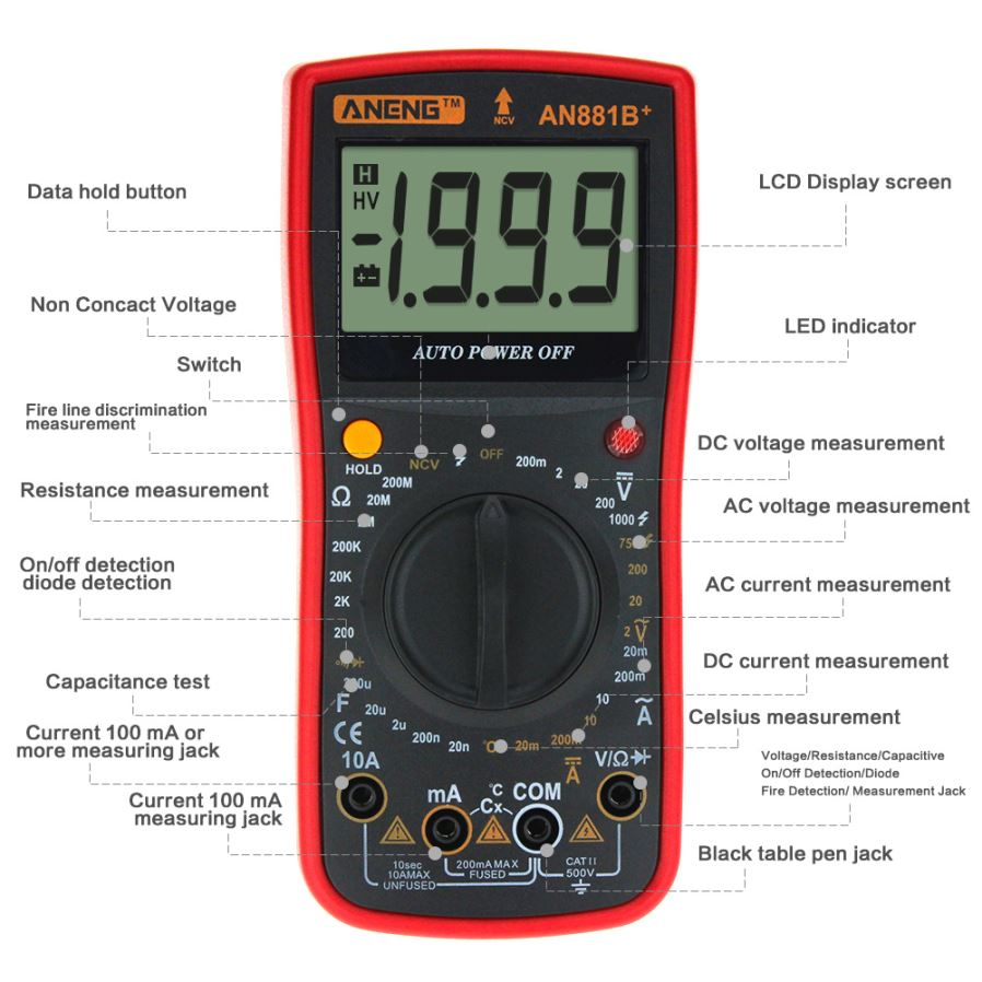 ZHAOYAO ANG881B+ AC/DC Ohm Ammeter Voltmeter w/ Backlight, Portable ...