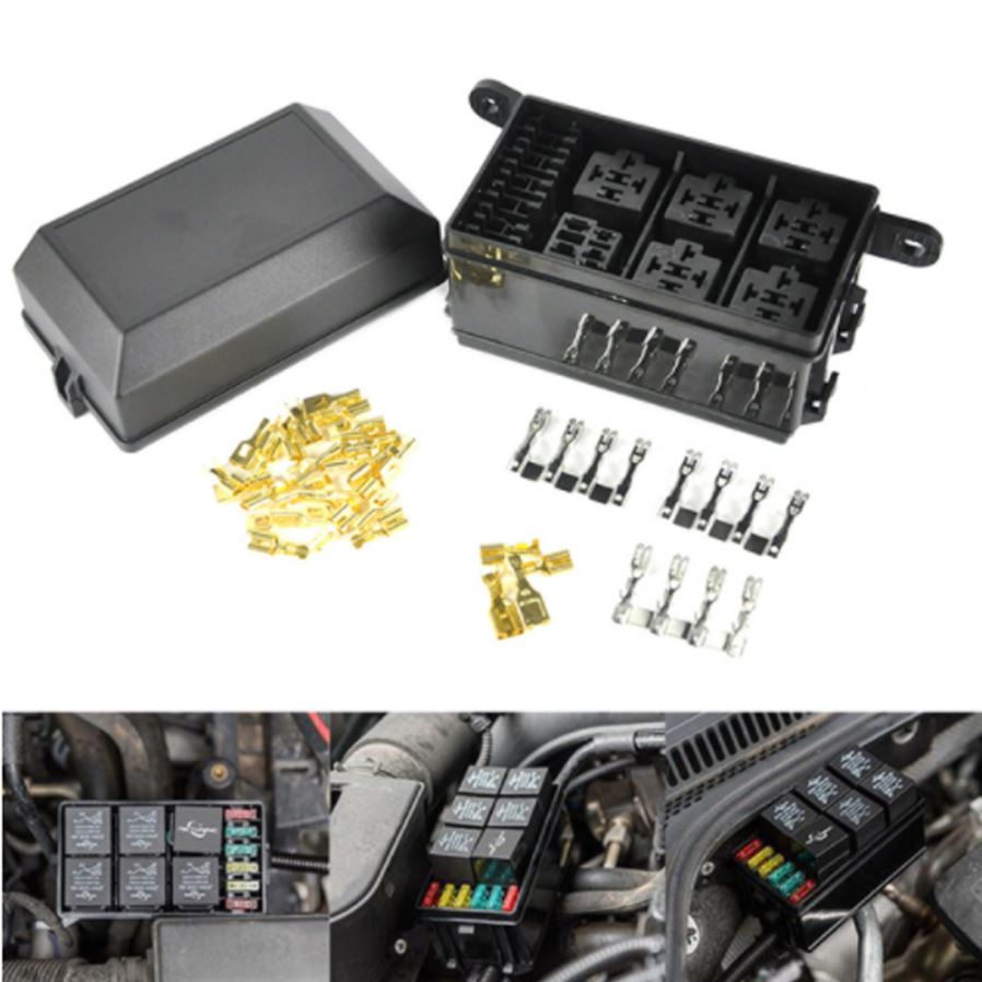 The optimal storage solution for your vehicle's relays and fuses.  Specification: Color: black. Material: ABS + PVC + copper. Rated voltage:  DC 12V 20A
