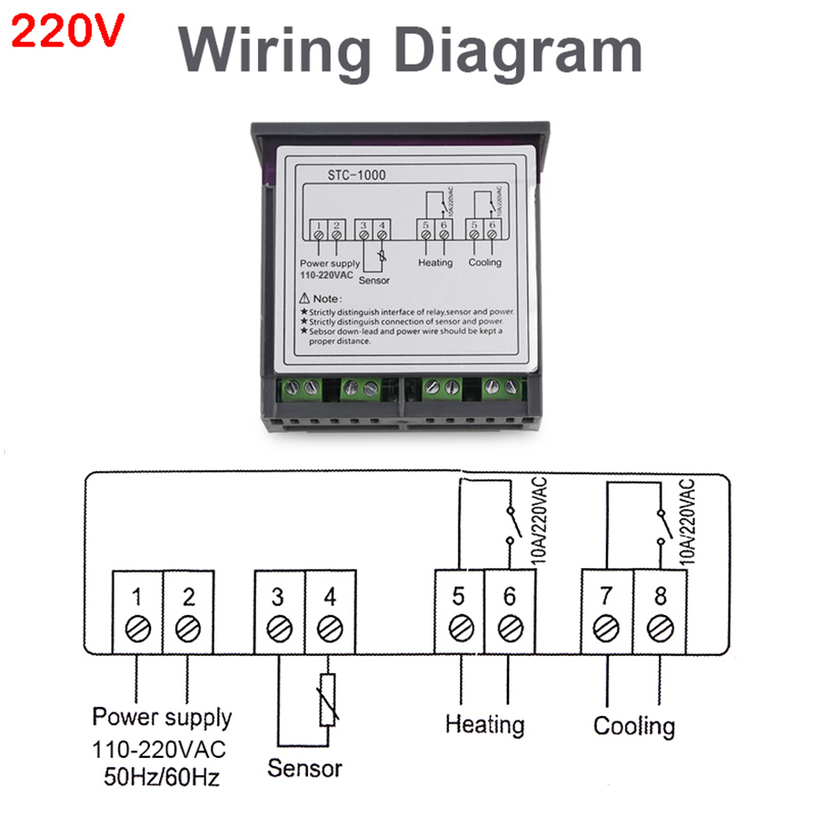Esamact Led Digital Temperature Controller Stc 1000 220v 220 Vac Wiring 4support Correction And Support For Power Loss The Parameters Of Sudden Failure Are Still Valid 5application Range Is Like Home