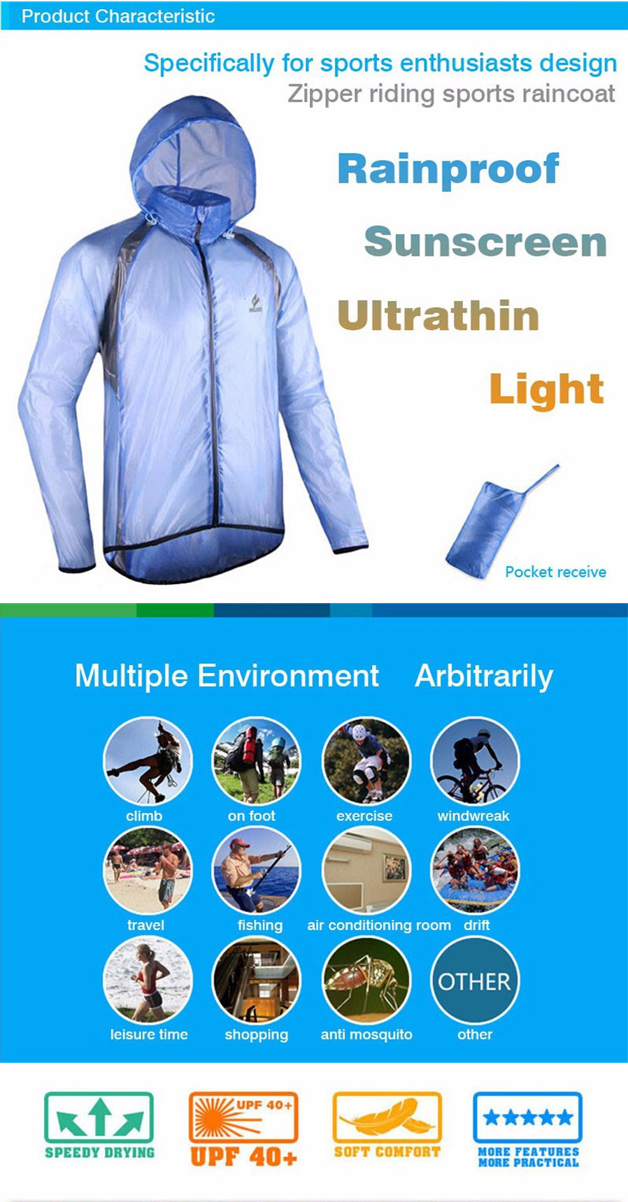 ARSUXEO Ultrathin Men s Cycling Rain Jacket - Fluorescent Green (L) - Free  Shipping - DealExtreme 4dcfba554d