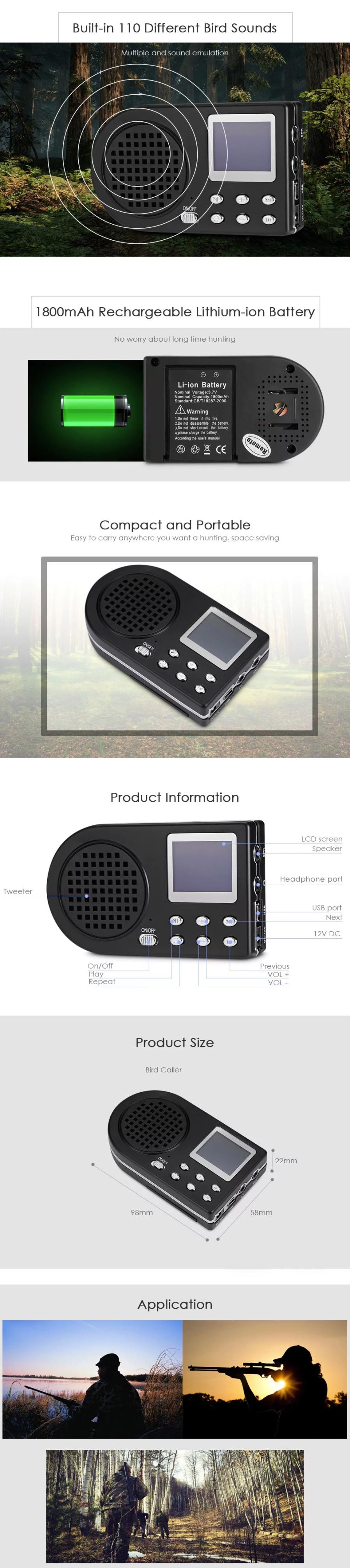 Cp 360 Mp3 Bird Caller Hunting Decoy Sound Loudspeaker Fish Electronics Circuit Lcd Portable Shooting Equipment Black Free Shipping Dealextreme