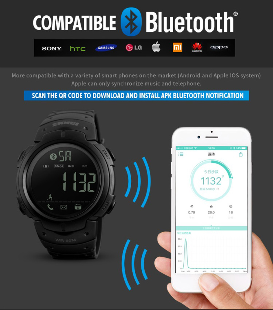 ... Digital Wristwatches Sport Smartwatch For iPhone Android Gender: Man,Female Function: Pedometer,Calorie,App remind,Sleeping monitor,Remind,Remote Camera
