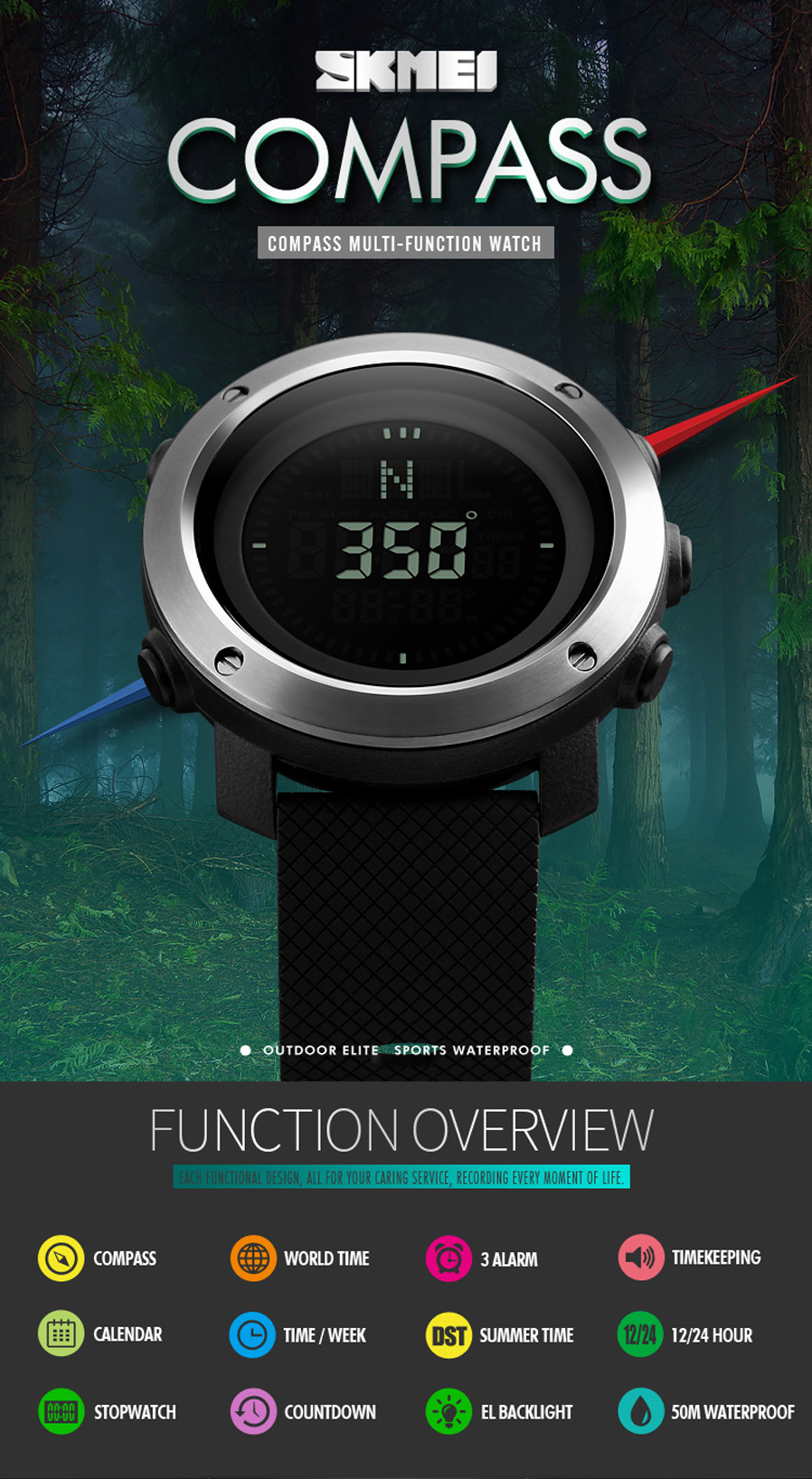 9c645d84078 SKMEI 1293 50m Waterproof Men s Digital Sports Watch  Functions:Compass