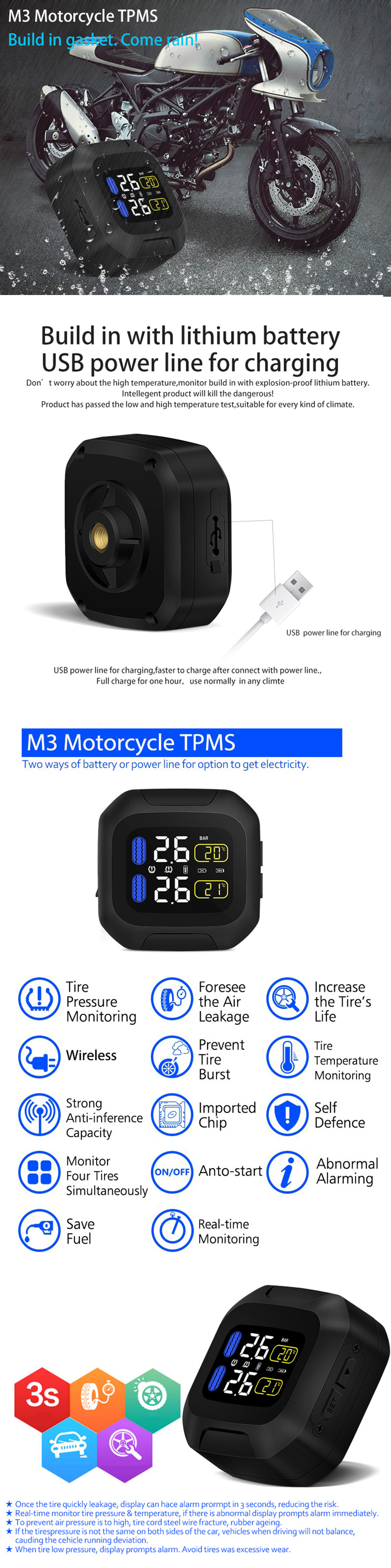 90smart Wireless Motorcycle Tpms Tire Pressure Monitoring System Battery Monitor Type Build On With Lithium Usb Power Line For Charging Display Size 48mm48mm27mm