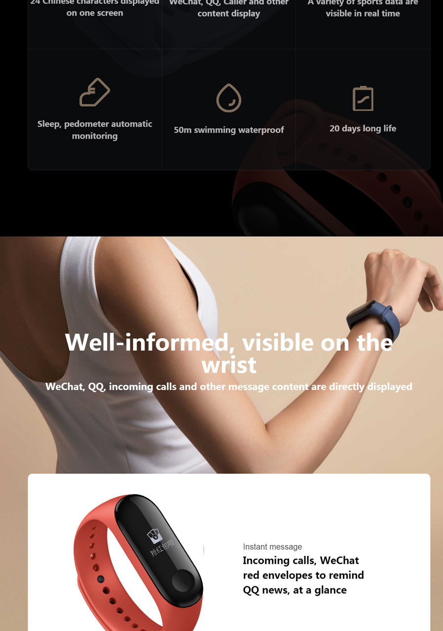 Original Xiaomi Mi Band 3 Oled Heart Rate Monitor Bluetooth 42 M2 Smart Bracelet 2 Look Wristband Fitness Tracker Monitoring Weather Forecast Target Setting Wechat Red Envelope Reminder Calorie Consumption Pairing Sports Miles Recording