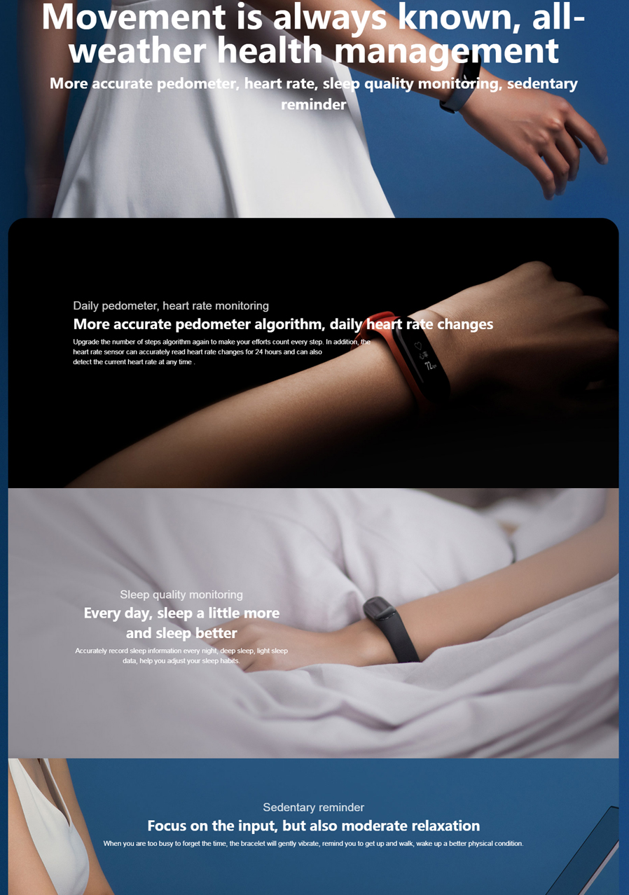 Original Xiaomi Mi Band 3 Oled Heart Rate Monitor Bluetooth 42 042ampquot Screen 2 Smart Wristband Replace Black Sports Miles Recording Dial Change Notification Timer Display Content Setting Low Battery Reminder Wear Mode Select Swim Wearable Ota Upgrade