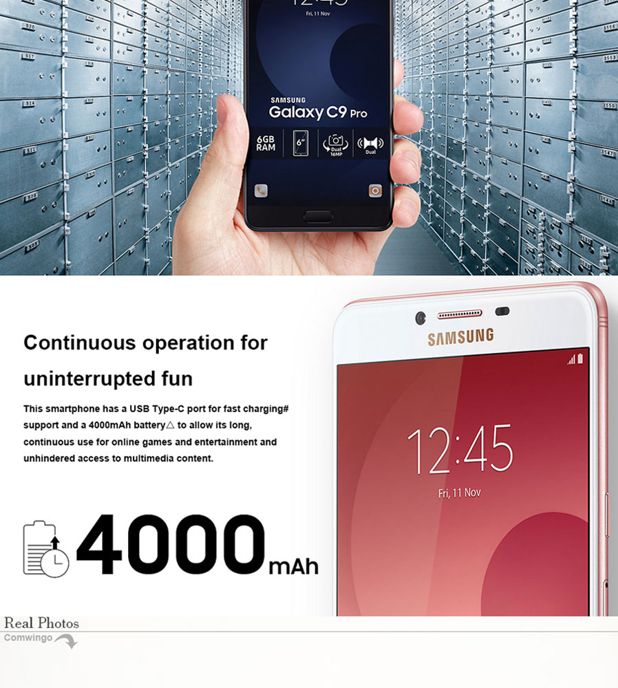 samsung c9 pro sm c9000 double carte sim avec 6 go ram 64 go rom rose envoie gratuit. Black Bedroom Furniture Sets. Home Design Ideas