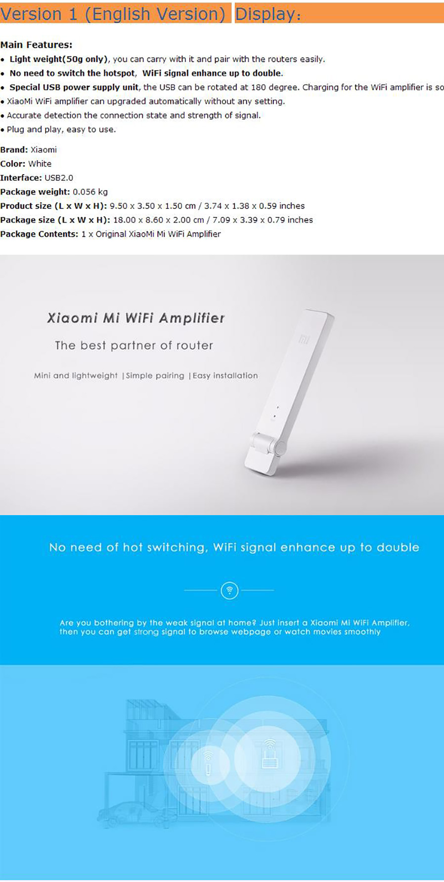 Original Xiaomi Wirless Mi Wi Fi Amplifier 2 Expander For Router Wifi Range Repeater Extender 300mbps Brand Name Interface Usb 20 Transmission Rate Antenna Built In Network Frequency 24ghz Chip Type Ralink
