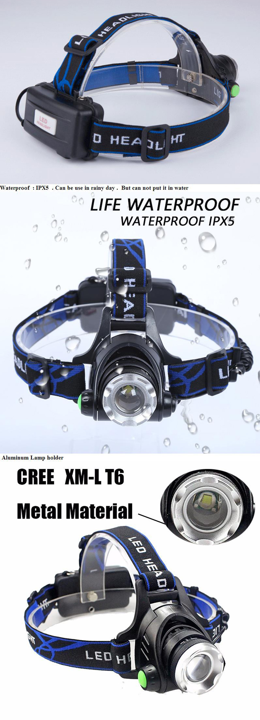 Led 3 Mode 500lm White Xm L L2 Zooming Headlight Black 2 X 18650 T6 High Power Headlamp Cree 5000 Lumens Major Advantage With 1 Brightness Light Beadadjustable Lamp Service Life Up To 100 Thousand Hours