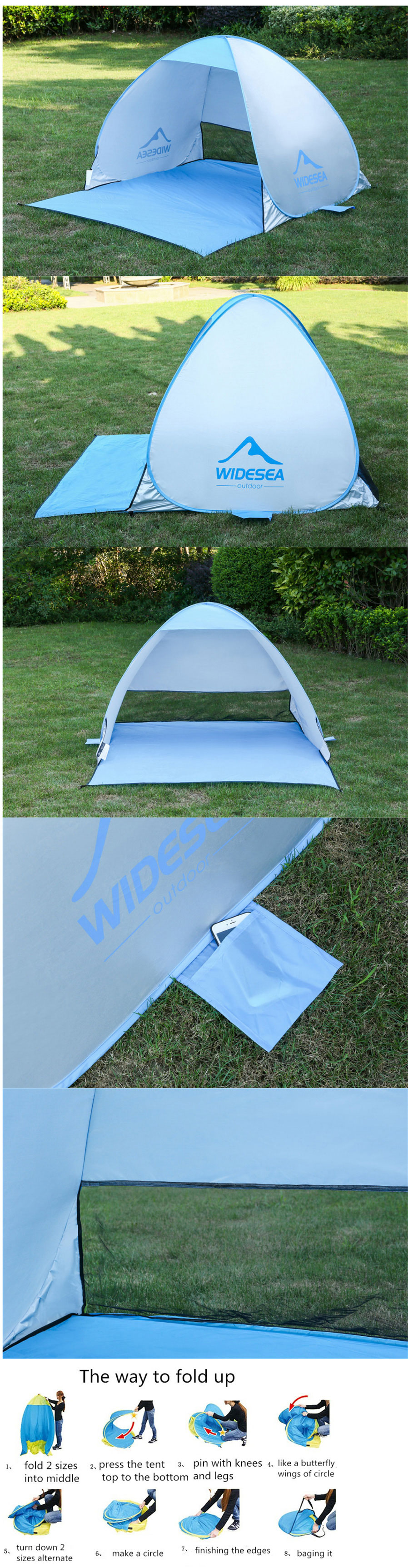 Pop Up Quick Automatic Open Beach Tent for 1-2 Persons - Green ...
