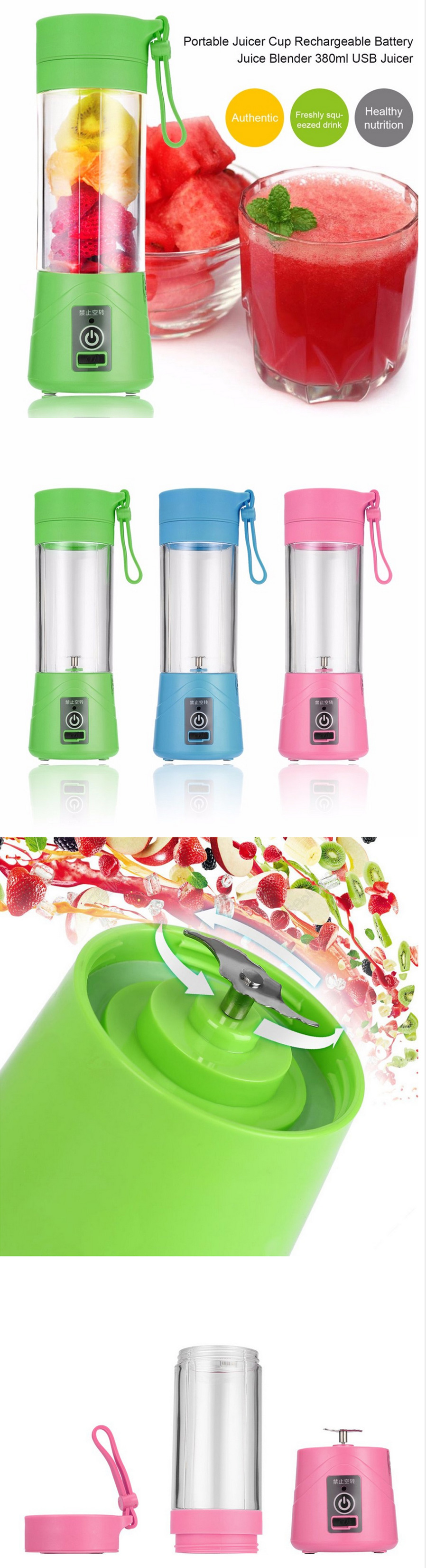 380ml Portable Usb Rechargeable Juicer Cup Green Free Shipping Battery Color Blue Pink Material Plastic Volume Moter Model Dc36 Motor Rotation No Load22000rpmload 15000rpm Working Current10 12a
