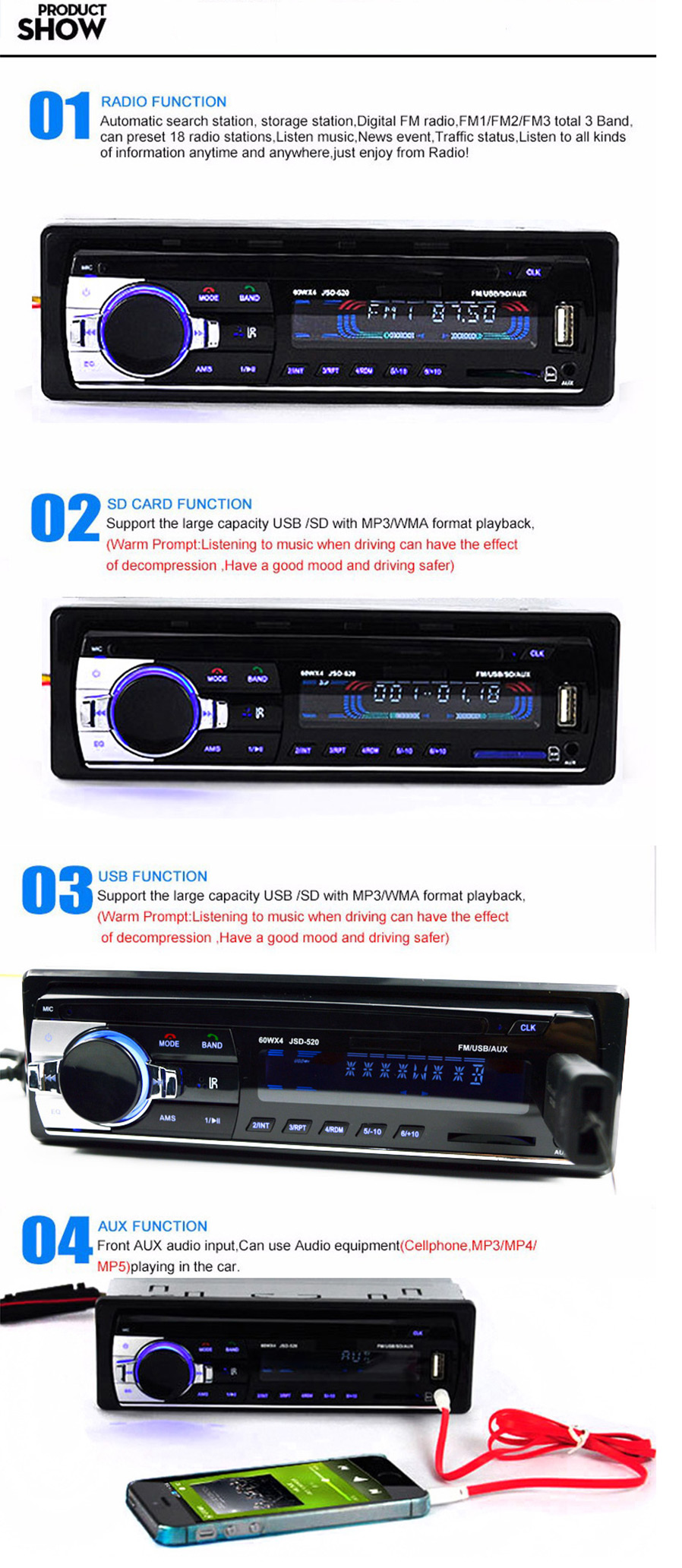 Bluetooth Car Radio Stereo Player With Lcd Screen Black