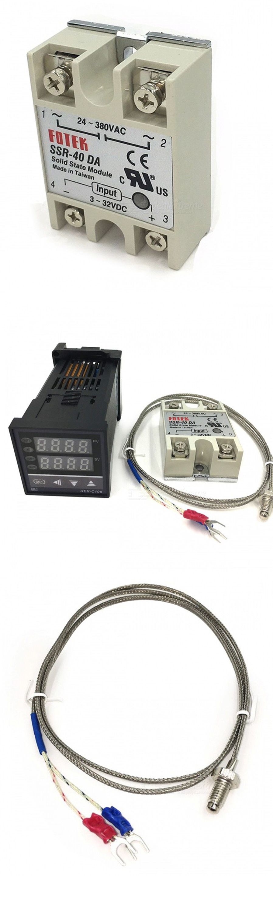 Rex C100 Thermostat With Ssr Relay Probe Set Free Shipping Complete Package Pid Temperature Controller Thermocouple Sensor Diameter5mm 3 Rang 0 400 4 Internal Insulation Fiberglass 5 External Shielding Insulated Max40a
