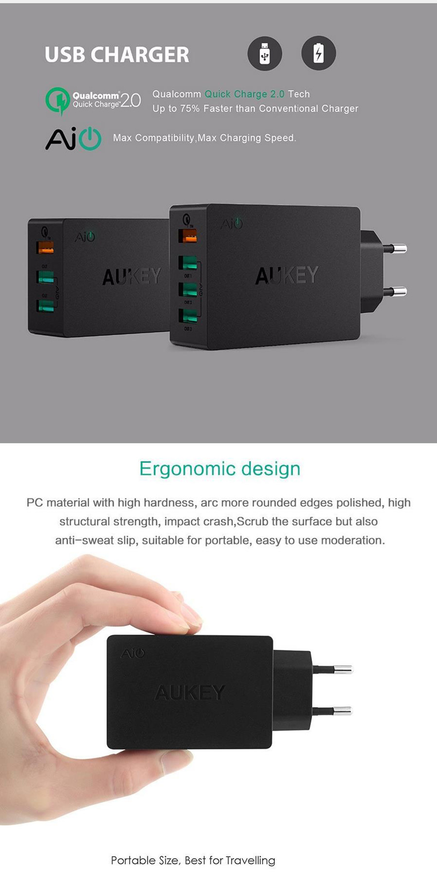Aukey Pa T2 Wall Charger Quick Charge 20 W 3 Port Usb Black Us U28 Turbo 18w Fastcharging General Brand