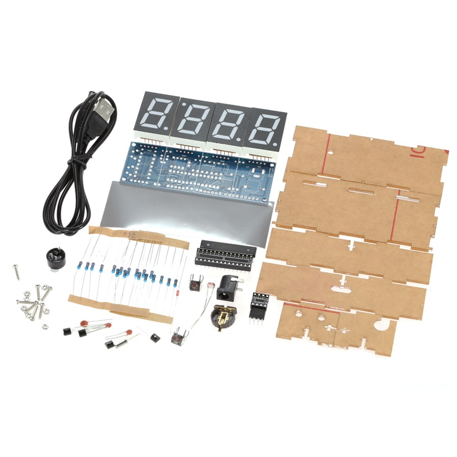 Compact Diy Digital 4 Digit Led Clock Kit With Transparent Case Flashing Circuit P Marian Flashers Display Color White Power Supply 1 Cr1220 Button Battery Not Included Pcb Size 95 35cm 37 14in Package Approx