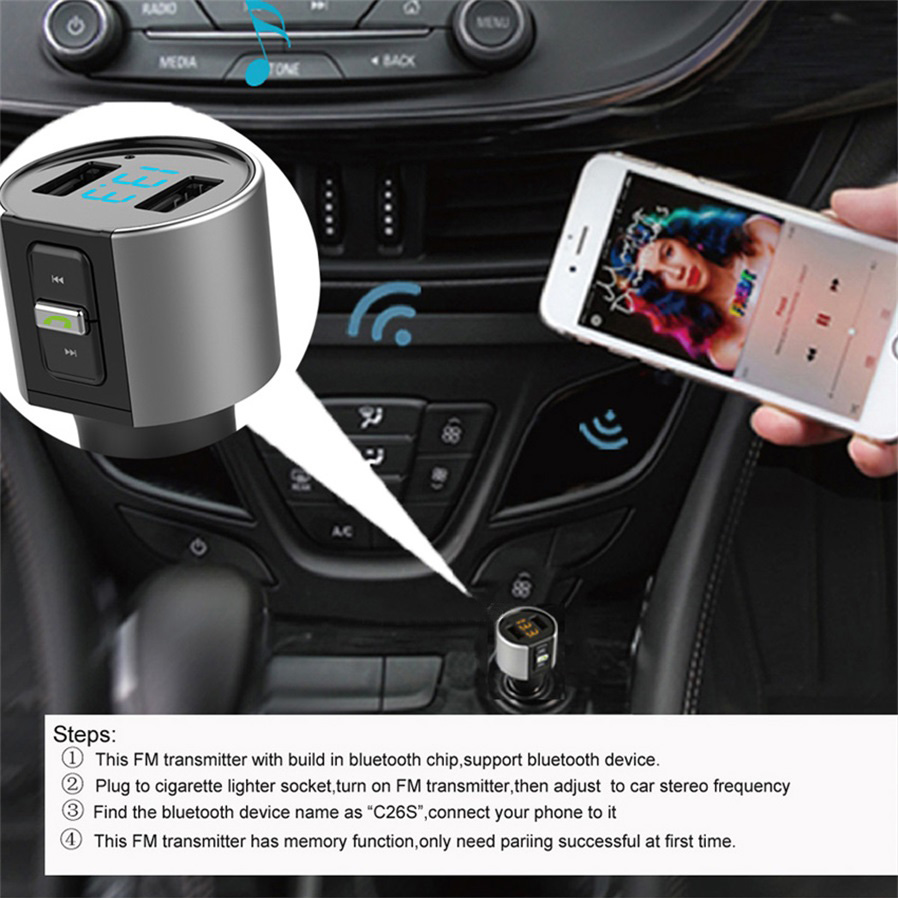 Car Mp3 Player Wireless Bluetooth Fm Transmitter Charger W Dual Usb Portable Device Screen Displayblue Led Digital Display Music Format Wma Frequency Range 875 Mhz 1080 Protocolavrcpa2dp