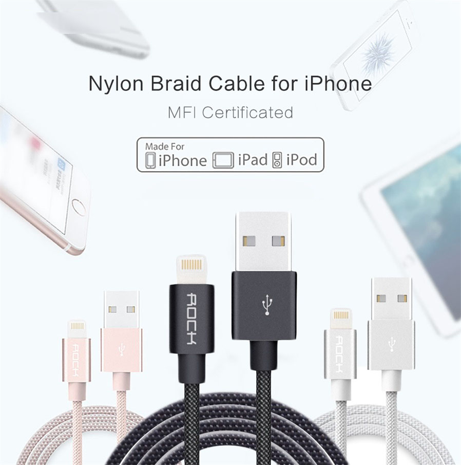 Rock Mfi Lightning To Usb Charge Amp Sync Round Cable 1m Free Kabel 2 In 1 Ampamp Data For Iphone And Android 100cm General
