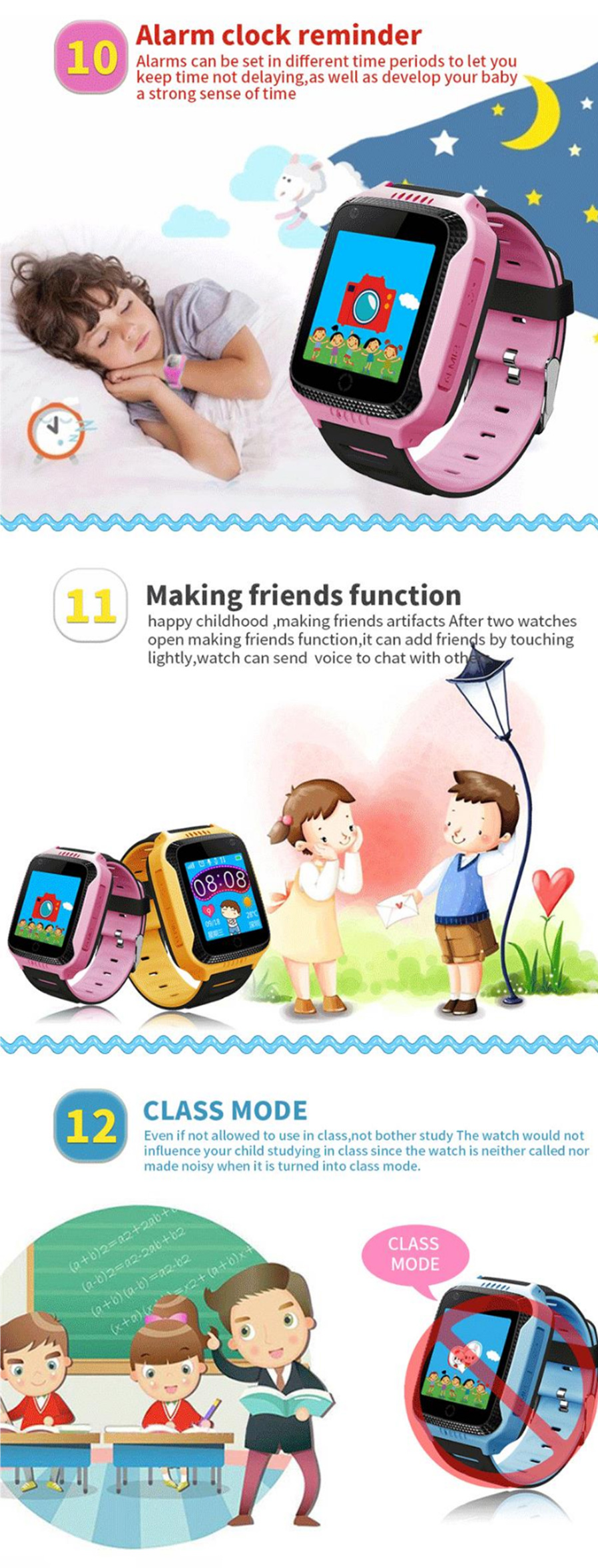 Q42 Children Gps Tracker Phone Watch With Touch Screen