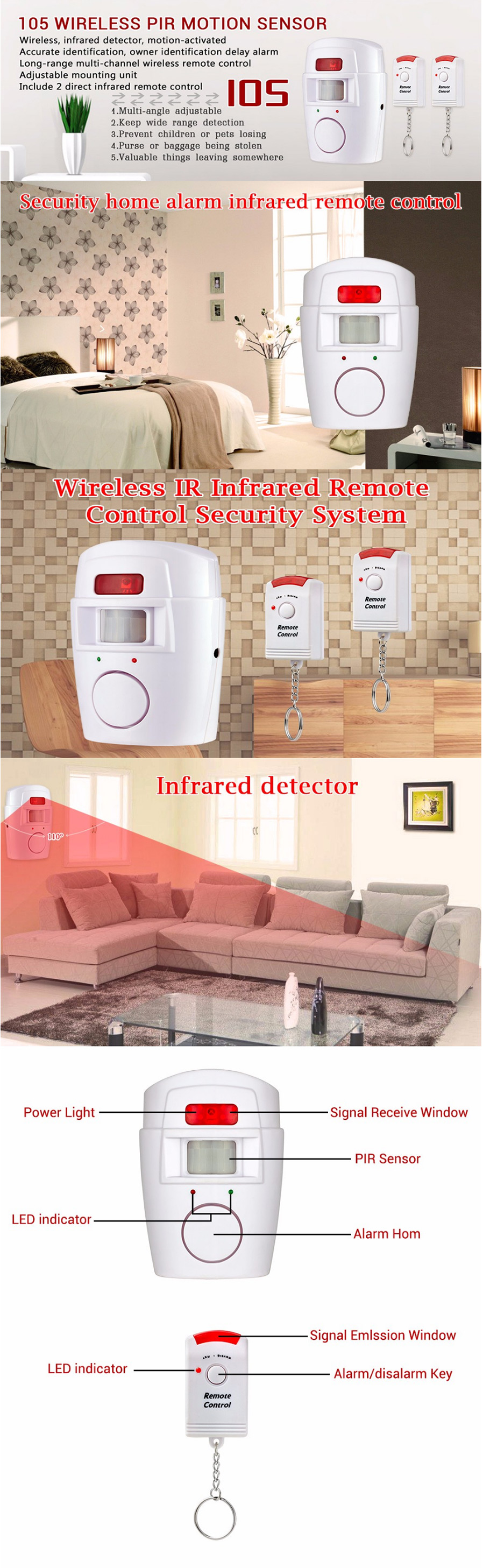 Home Pir Mp Alert Infrared Sensor Anti Theft Motion Detector White Arduino Night Security Alarm With Note 10 Meters Range For Detection After You Arm The System When Is Triggeredit Will Sound 40 Seconds