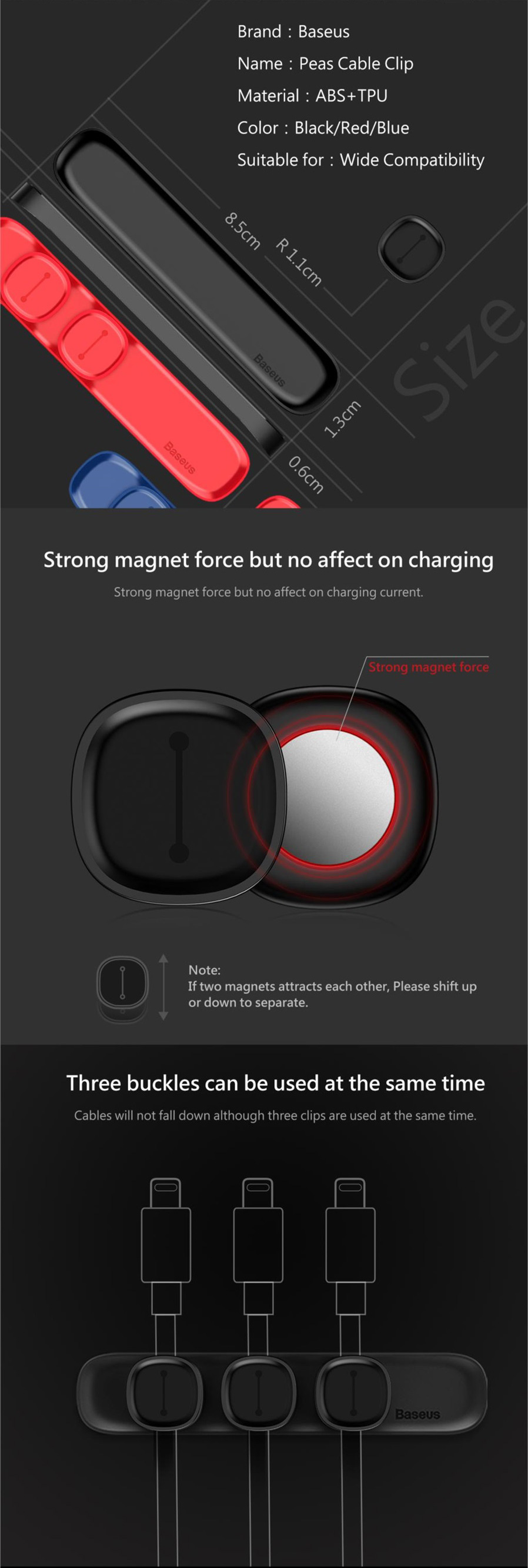 Baseus Creative Simple Magnetic Peas Cable Clip Winder Wire Cord ...