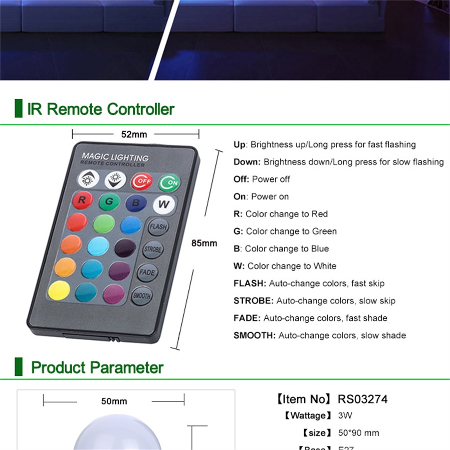 E27 3w 16 Color Changing Rgb Led Bulb Chandelier With 24 Key Ir Infrared Remote Control Tester P Marian Detectors Generell