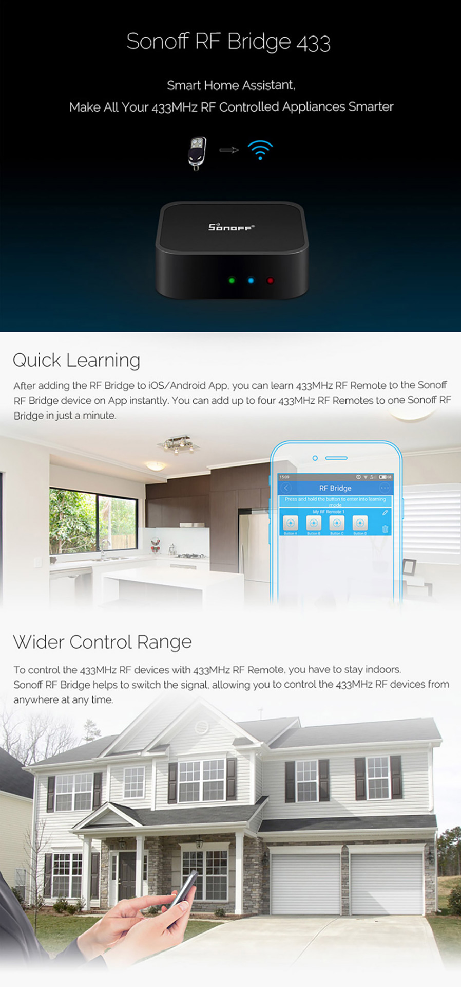 Sonoff RF Bridge Wi-Fi 433MHz Replacement for Smart Home Automation - Black