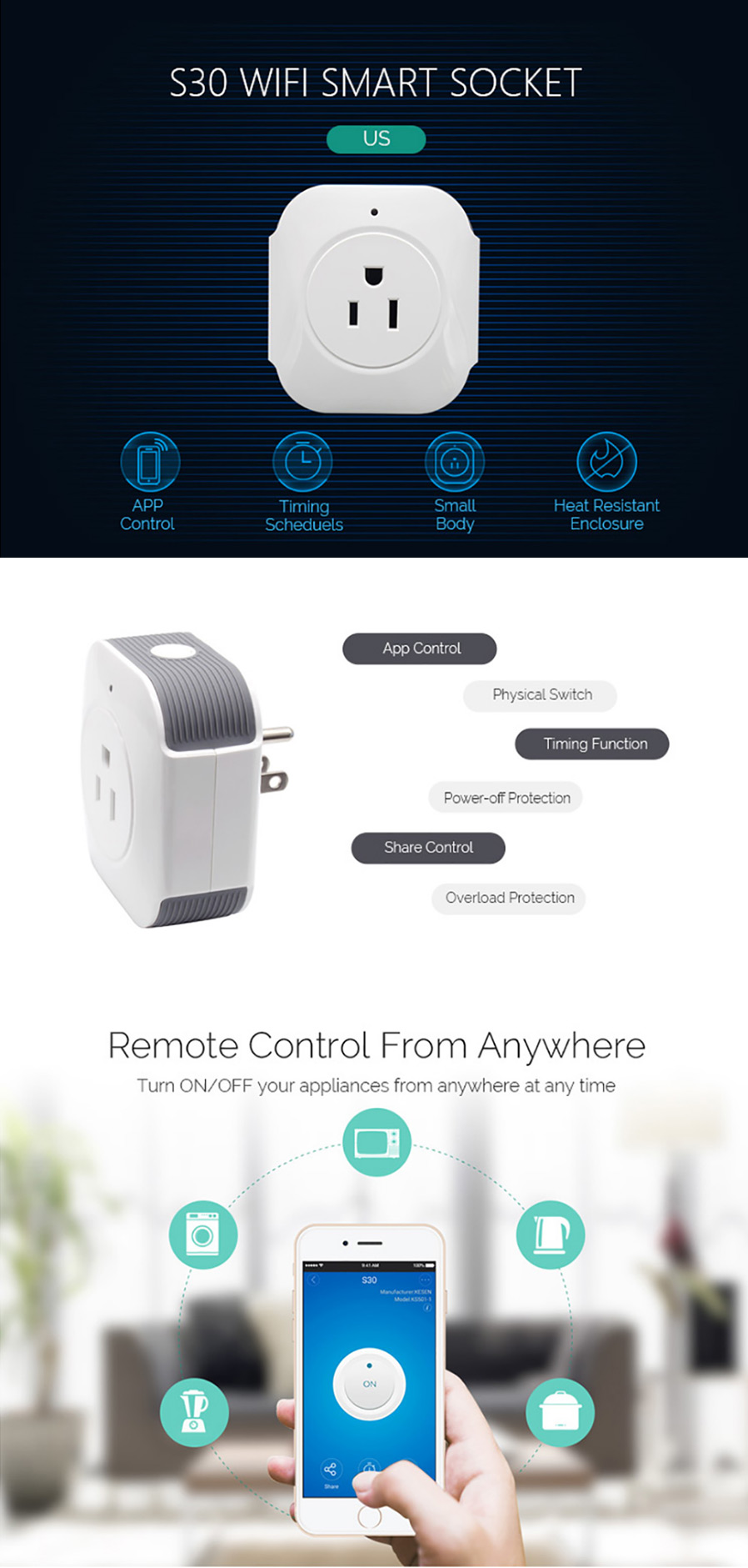 Sonoff S30 Wi Fi Wireless Remote Control Power Socket Switch White Xiaomi Mi Smart Strip Plug Adapter With Functio Devicename Should Be The Name Of Your Device Alexa Turn On Off
