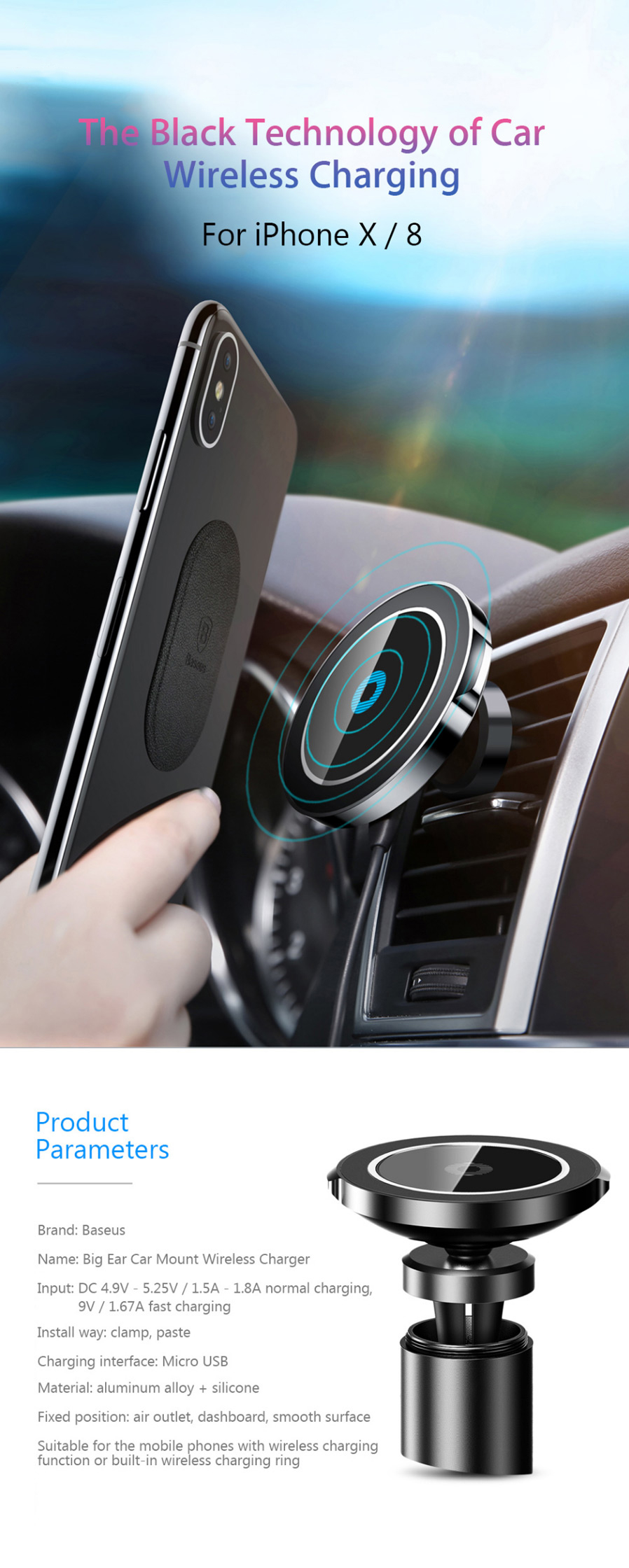 Baseus Big Ears Magnetic Car Mount Fast Charge Qi Wireless Charger Universal Receiver Reveres Port For Smartphone Input Dc 49v 525v 15a 18a Normal Charging 9v 167a Install Way Clamp Paste Interface Micro Usb