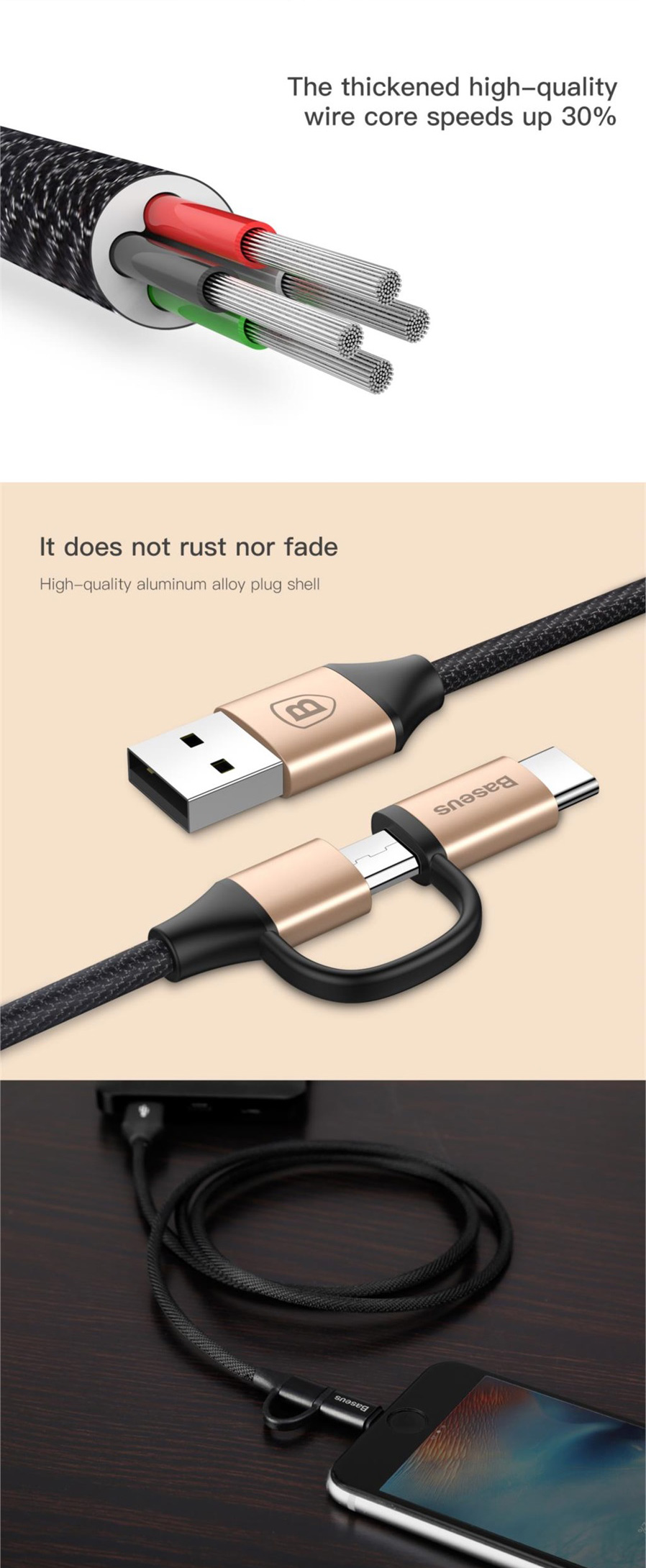 Baseus Yiven Micro Usb Type C Data Transmission Charging Cable Kabel 2 In 1 Charge Ampamp For Iphone And Android 100cm General