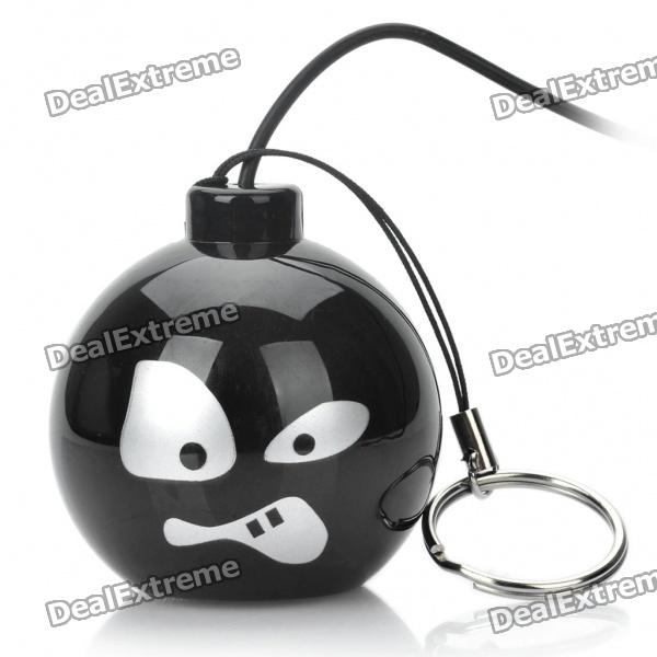 Funny Mini Bomb Style Rechargeable MP3 Music Speaker - Black (Angry)
