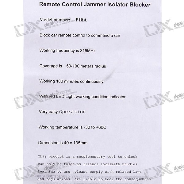 315MHz, Wide, Channel, Car, Remote, Control, Jammer, Blocker, 100Meter, Radius, Coverage, Signal, Blockers, Free, Shipping