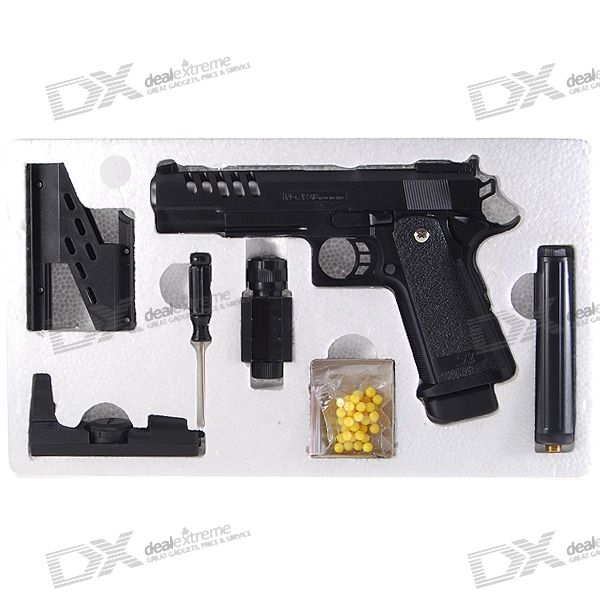 6mm, Pistol, Springload, BB, Gun, Toy, with, Laser, Sight, and, Flashlight, BB, Guns, Accessories, Free, Shipping
