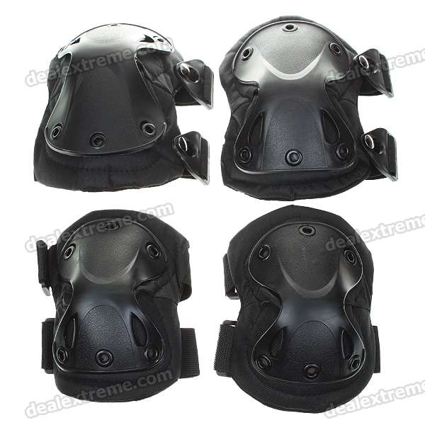 Knee, and, Elbow, Protection, Pad, Sets, Black, Airsoft, Game, Accessories, Free, Shipping