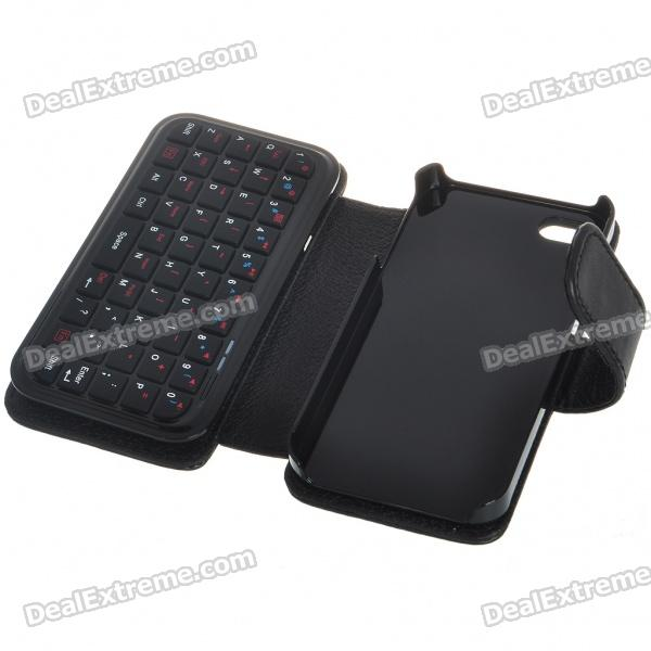 49Key, Mini, Rechargeable, Bluetooth, V20, QWERTY, Keyboard, with, PU, Leather, Case, for, iPhone, 4, Keyboards, Free, Shipping