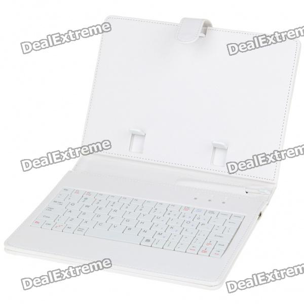 "80-Key QWERTY Wired Keyboard w/ Protective Leather Case for 7~8"" Tablet PC - White"
