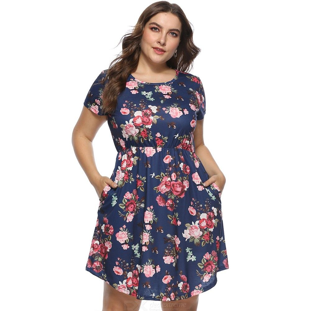 201a1c322f8 OS005 Womens Round Neck Short Sleeve Floral Print Dress, Plus Size ...