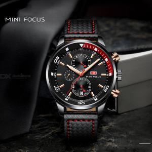 MINI Focus MF0017G Casual Mens 41mm Waterproof Sports Leather Strap Watch