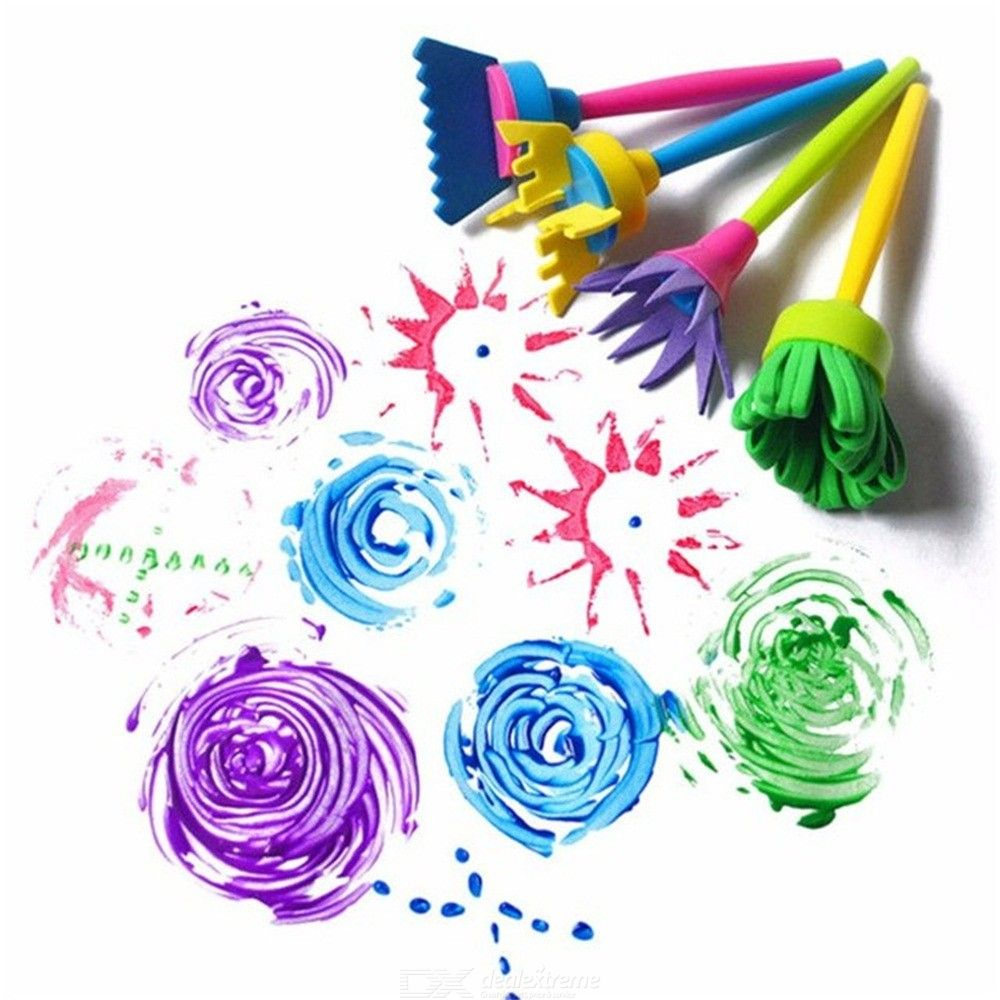 Image of 4Pcs Set DIY Sponge Drawing Paint Brushes Graffiti Toys Painting Creative Gift Toys For Children Stamps Toys