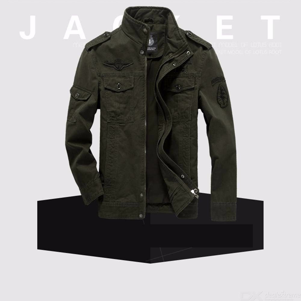 33279c409 Men's Bomber Jackets Army Military Uniform Casual Stand Collar Loose  Multi-Pocketed Tooling Flight Jacket