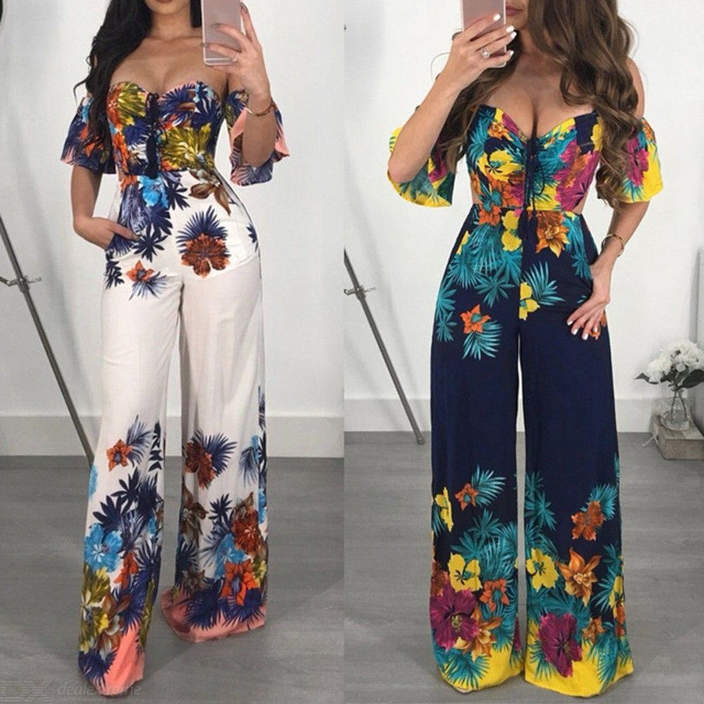 cabaa92a270 Sexy Jumpsuit Off Shoulder Playsuits Casual Short Sleeve Party Jumpsuits Flower  Romper For Women - Free shipping - DealExtreme