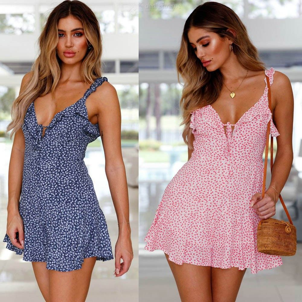 7bd7ff2072302 Summer Beach Floral Print Spaghetti Strap Sleeveless Party Dresses For Women