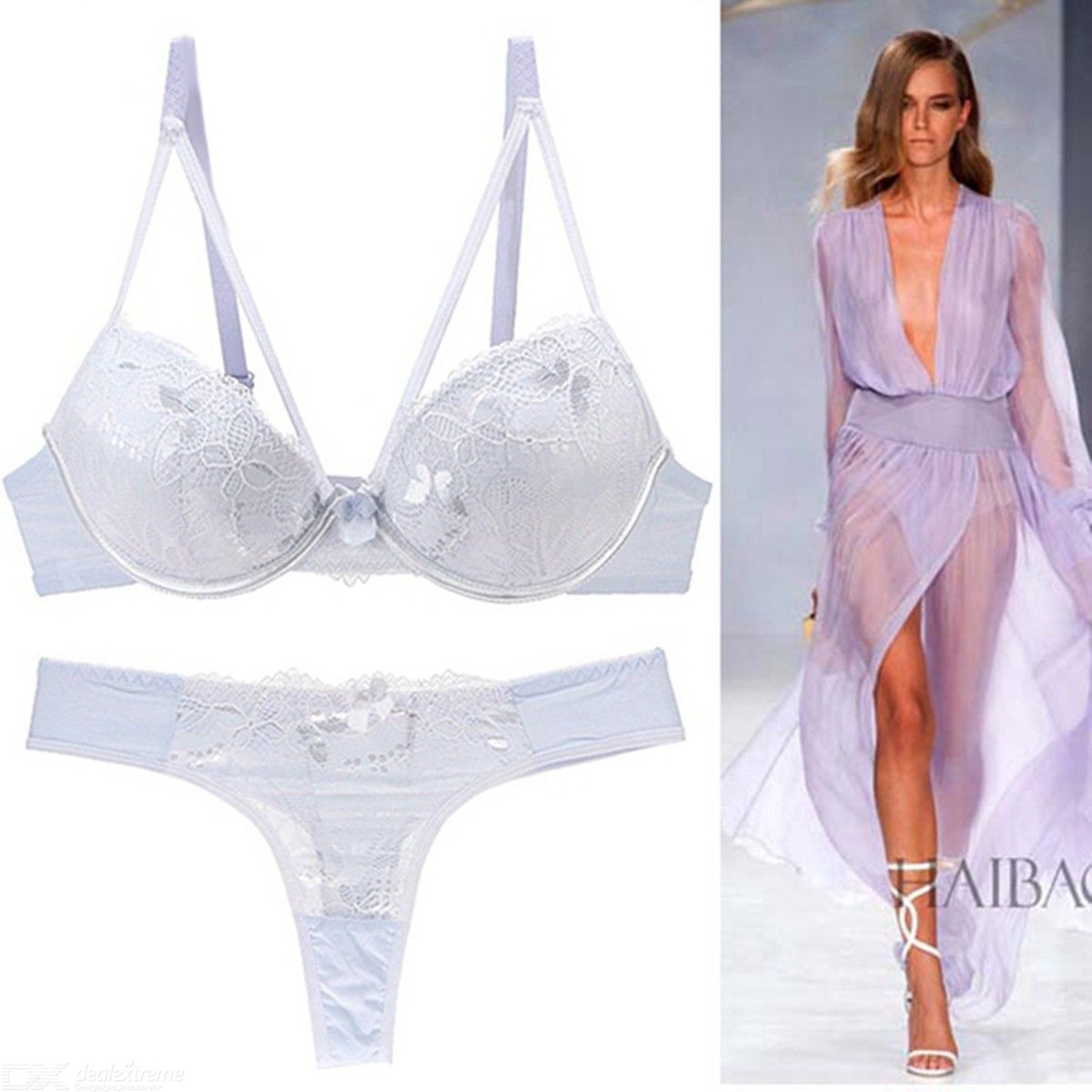 8776fbcbeac Sexy Bra Set 3 4 Cup Lace Lingerie Embroidery Underwear - Free shipping -  DealExtreme