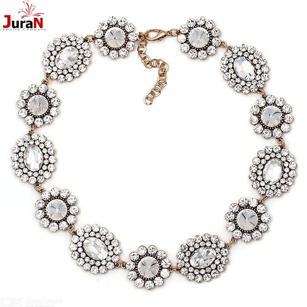 a9d0a7a19 Luxurious Floral Stone Necklace Vintage Gold-plated Chain For Women ...