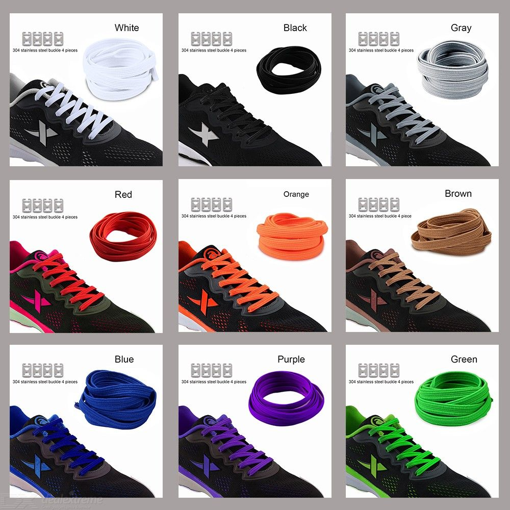 057c9b43c417 Elastic Stretching Locking No Tie Lazy Shoelaces Unisex Kids Elastic Rubber  Flat Shoe Lace 1m