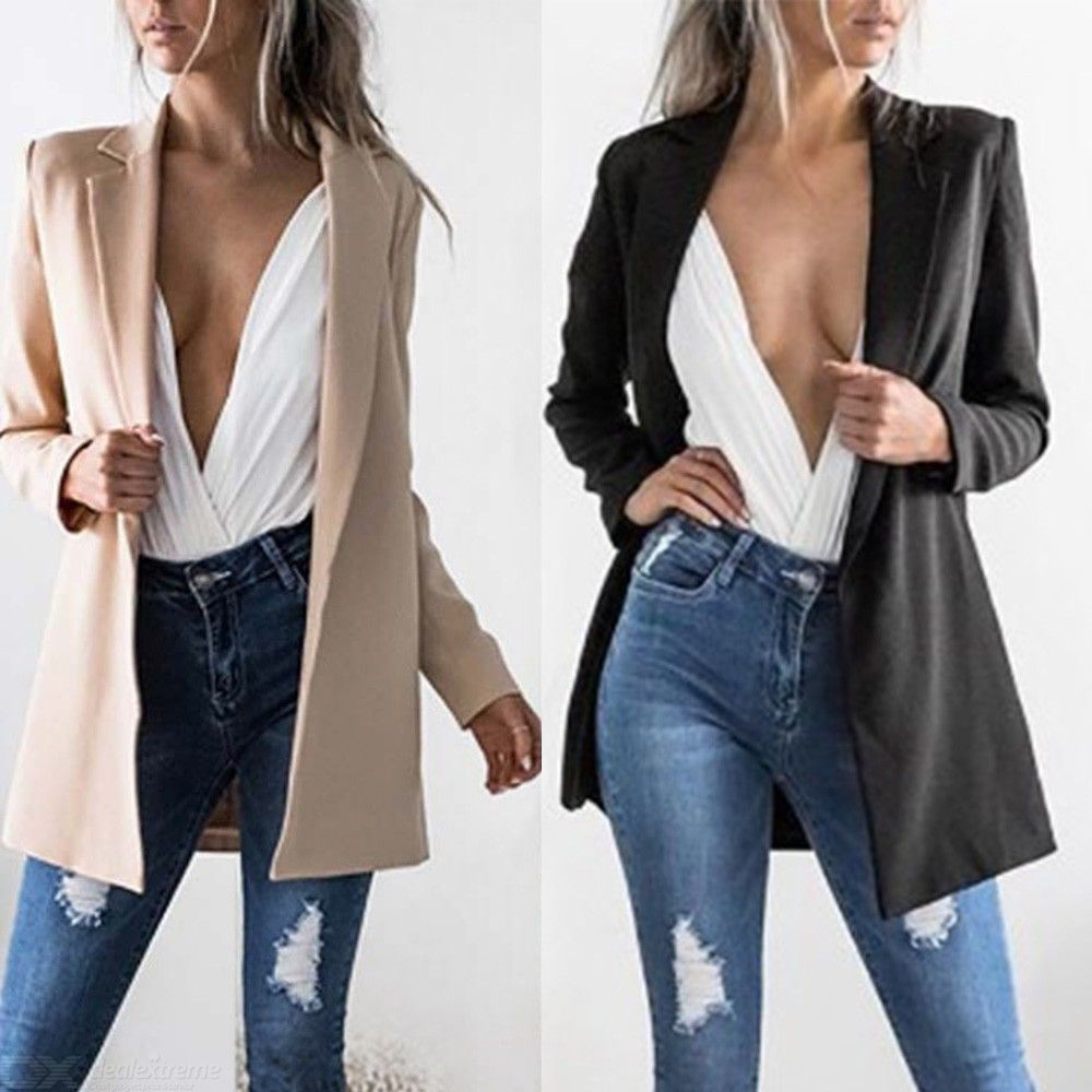 ce221008f1 Womens Blazers Spring Autumn Long Sleeve Casual Sexy Lapel Coat Slim Fit  Cardigan Work Style Suit