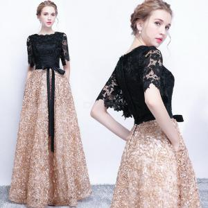 Womens Lace Evening Dress Maxi Solid Tulle Dress With Voluminous Hem