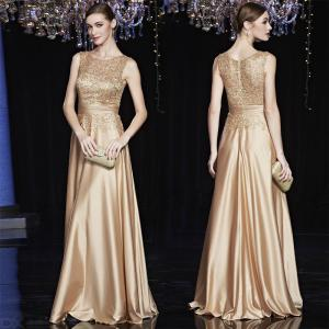 Satin Gold Royal Evening Maxi Dress Elegant Sleeveless Formal Party Gowns For Women Mother